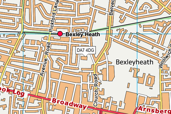 Upland Primary School map (DA7 4DG) - OS VectorMap District (Ordnance Survey)