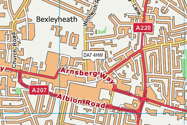 DA7 4HW map - OS VectorMap District (Ordnance Survey)