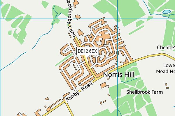 DE12 6EX map - OS VectorMap District (Ordnance Survey)