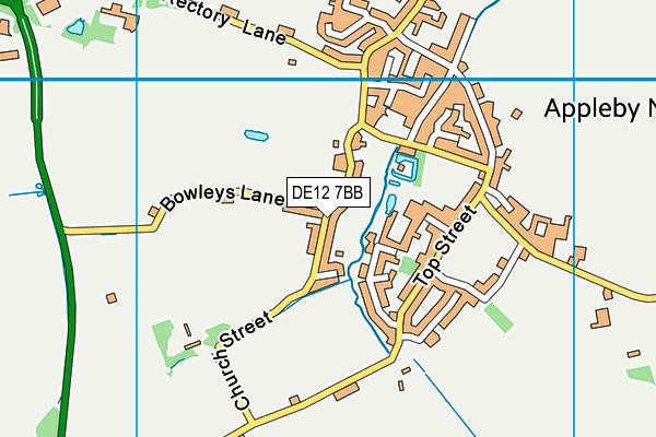 DE12 7BB map - OS VectorMap District (Ordnance Survey)
