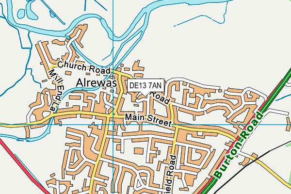 DE13 7AN map - OS VectorMap District (Ordnance Survey)