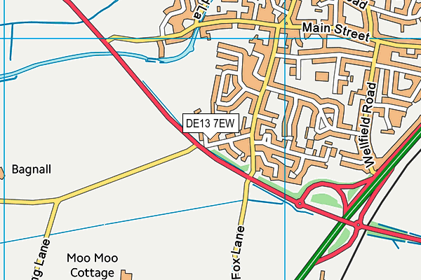 DE13 7EW map - OS VectorMap District (Ordnance Survey)