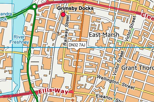 DN32 7AJ map - OS VectorMap District (Ordnance Survey)