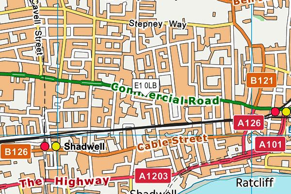 Bishop Challoner Boys' School map (E1 0LB) - OS VectorMap District (Ordnance Survey)