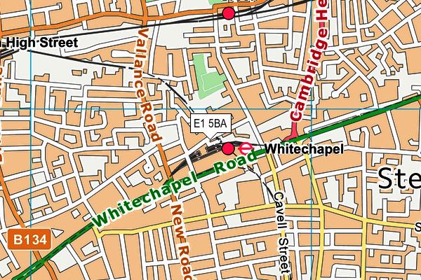 Whitechapel Sports Centre map (E1 5BA) - OS VectorMap District (Ordnance Survey)