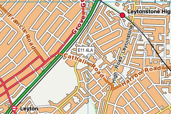 Leytonstone Leisure Centre map (E11 4LA) - OS VectorMap District (Ordnance Survey)