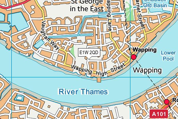 John Orwell Sports Centre map (E1W 2QD) - OS VectorMap District (Ordnance Survey)
