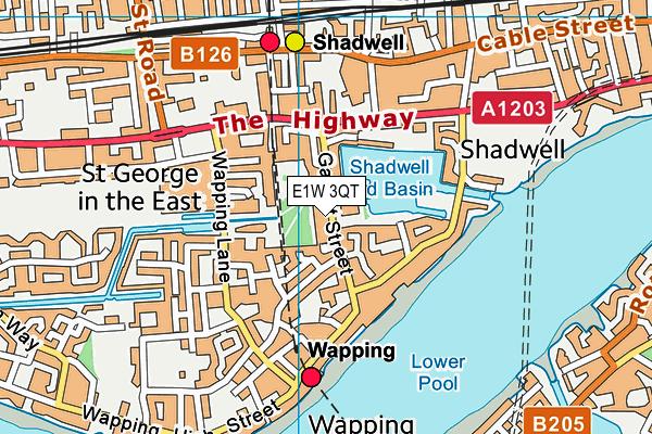 St Peter's London Docks CofE Primary School map (E1W 3QT) - OS VectorMap District (Ordnance Survey)