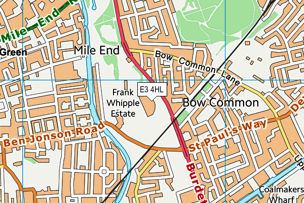 Mile End Park Leisure Centreand Stadium map (E3 4HL) - OS VectorMap District (Ordnance Survey)