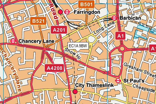 EC1A 9BW map - OS VectorMap District (Ordnance Survey)