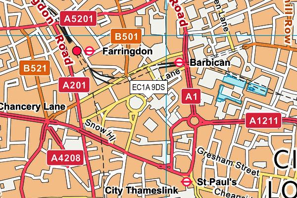 EC1A 9DS map - OS VectorMap District (Ordnance Survey)