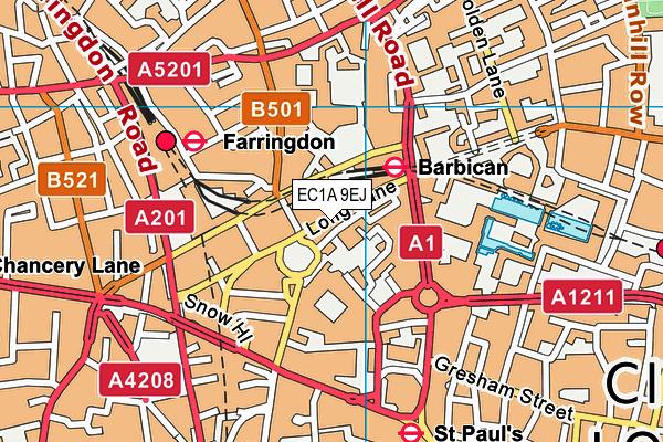 EC1A 9EJ map - OS VectorMap District (Ordnance Survey)