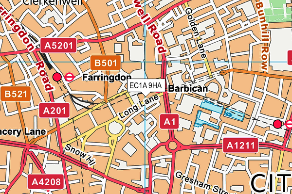 EC1A 9HA map - OS VectorMap District (Ordnance Survey)