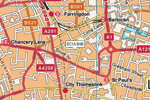 EC1A 9HB map - OS VectorMap District (Ordnance Survey)
