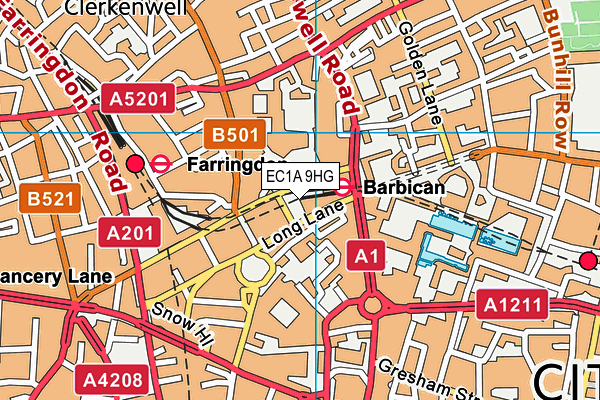EC1A 9HG map - OS VectorMap District (Ordnance Survey)
