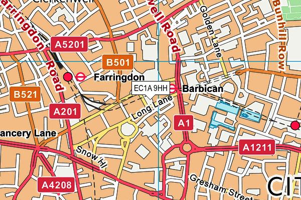 EC1A 9HH map - OS VectorMap District (Ordnance Survey)