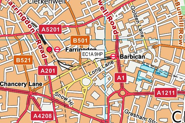 EC1A 9HP map - OS VectorMap District (Ordnance Survey)