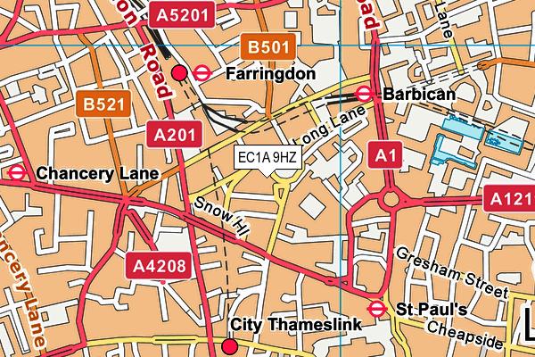 EC1A 9HZ map - OS VectorMap District (Ordnance Survey)