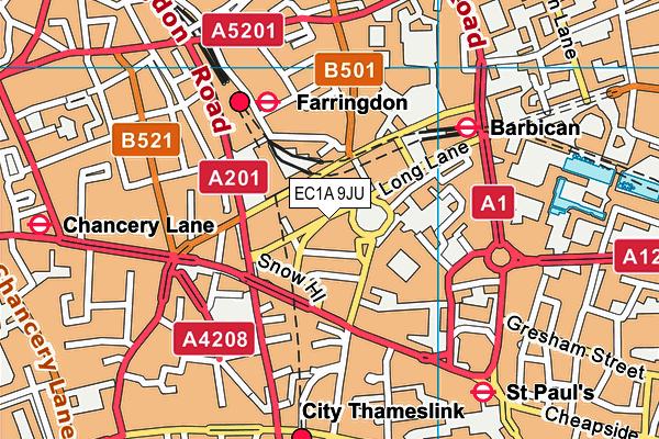 EC1A 9JU map - OS VectorMap District (Ordnance Survey)