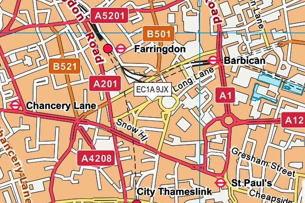 EC1A 9JX map - OS VectorMap District (Ordnance Survey)