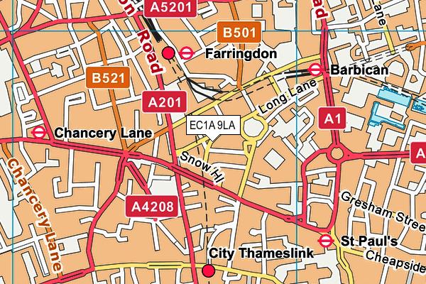 EC1A 9LA map - OS VectorMap District (Ordnance Survey)