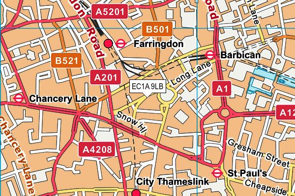 EC1A 9LB map - OS VectorMap District (Ordnance Survey)