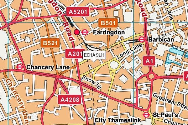 EC1A 9LH map - OS VectorMap District (Ordnance Survey)