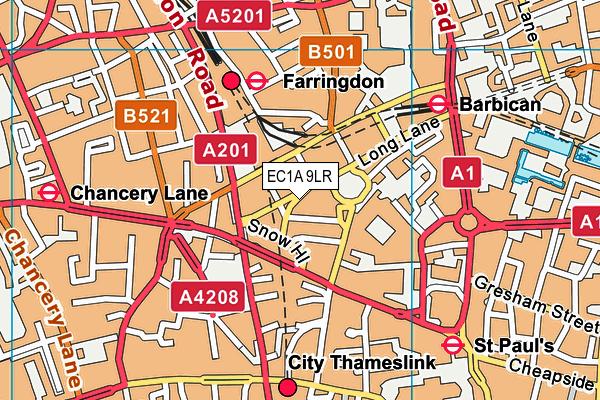 EC1A 9LR map - OS VectorMap District (Ordnance Survey)