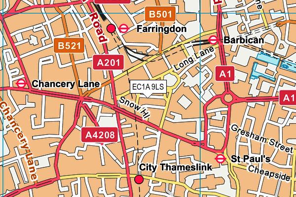 EC1A 9LS map - OS VectorMap District (Ordnance Survey)