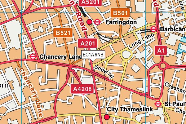 EC1A 9NB map - OS VectorMap District (Ordnance Survey)
