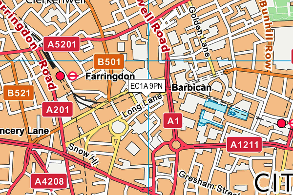 EC1A 9PN map - OS VectorMap District (Ordnance Survey)