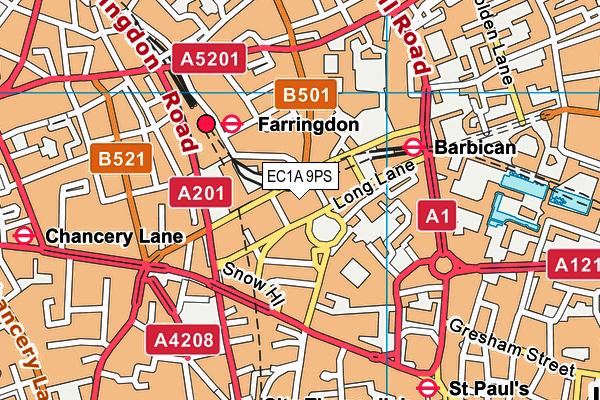 EC1A 9PS map - OS VectorMap District (Ordnance Survey)