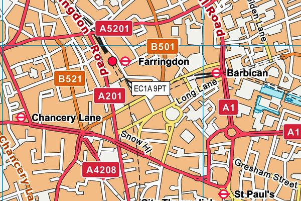 EC1A 9PT map - OS VectorMap District (Ordnance Survey)