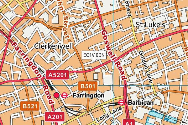 EC1V 0DN map - OS VectorMap District (Ordnance Survey)