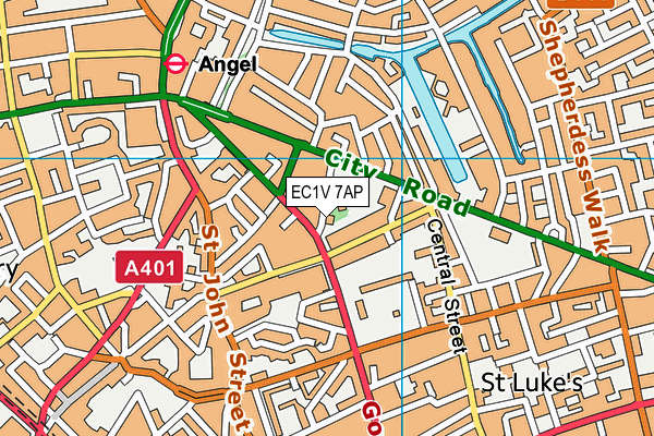 EC1V 7AP map - OS VectorMap District (Ordnance Survey)