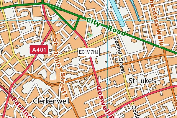 EC1V 7HJ map - OS VectorMap District (Ordnance Survey)