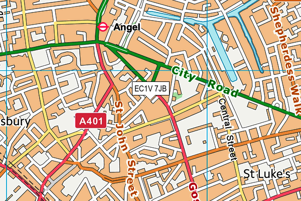 EC1V 7JB map - OS VectorMap District (Ordnance Survey)