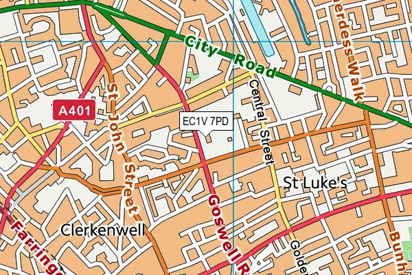 EC1V 7PD map - OS VectorMap District (Ordnance Survey)