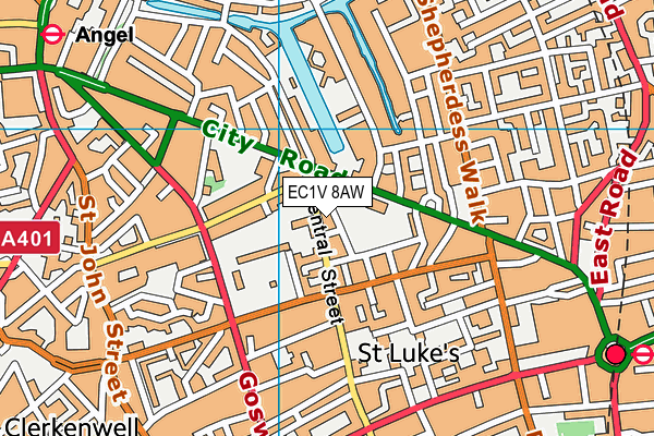 EC1V 8AW map - OS VectorMap District (Ordnance Survey)