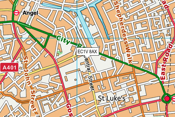 EC1V 8AX map - OS VectorMap District (Ordnance Survey)