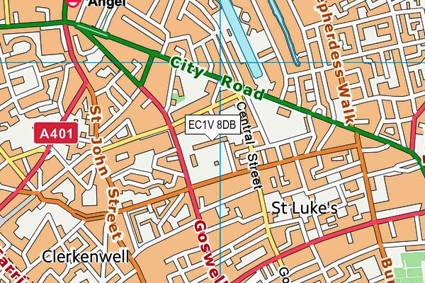 EC1V 8DB map - OS VectorMap District (Ordnance Survey)