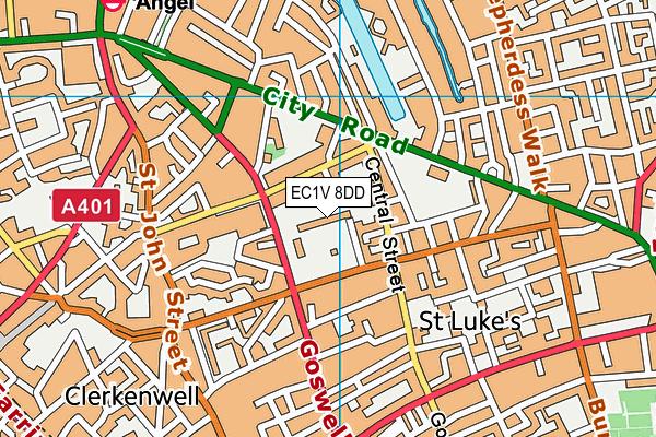 EC1V 8DD map - OS VectorMap District (Ordnance Survey)