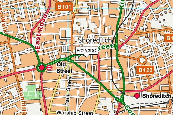 EC2A 3DQ map - OS VectorMap District (Ordnance Survey)