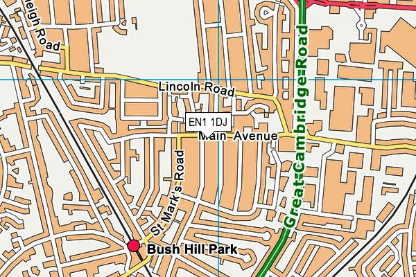 Bush Hill Park Church Hall map (EN1 1DJ) - OS VectorMap District (Ordnance Survey)