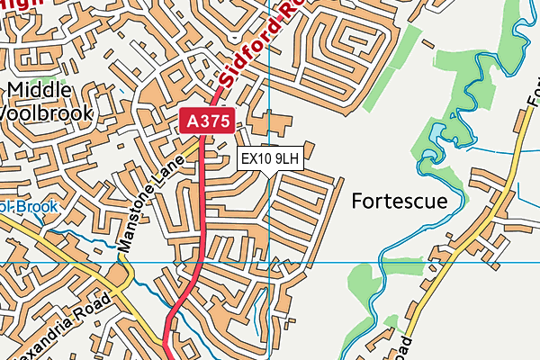 Sidmouth Leisure Centre map (EX10 9LH) - OS VectorMap District (Ordnance Survey)