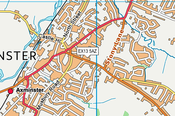 Axminster Leisure Centre map (EX13 5AZ) - OS VectorMap District (Ordnance Survey)