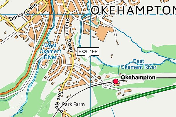 Parklands Leisure Centre map (EX20 1EP) - OS VectorMap District (Ordnance Survey)
