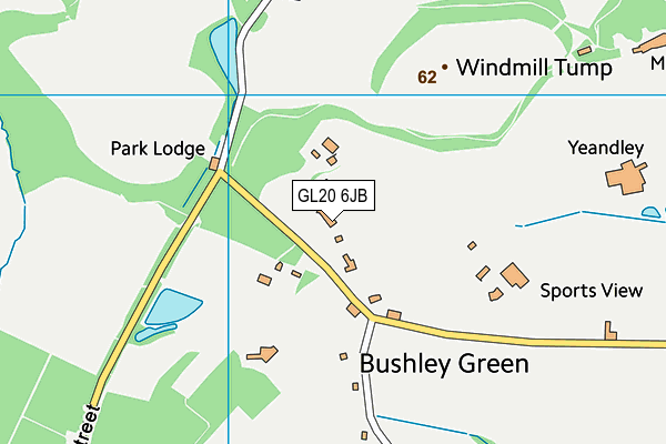Bushley Cricket Club map (GL20 6JB) - OS VectorMap District (Ordnance Survey)