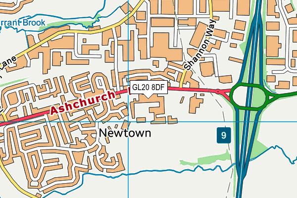 Tewkesbury School map (GL20 8DF) - OS VectorMap District (Ordnance Survey)