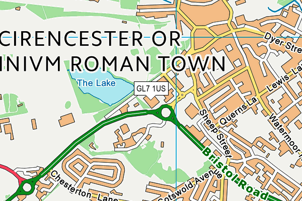 Cirencester Leisure Centre map (GL7 1US) - OS VectorMap District (Ordnance Survey)